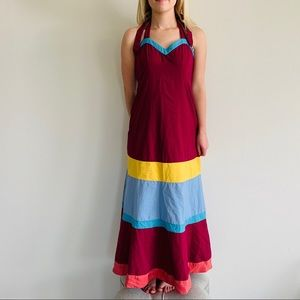 Anthropologie Maeve Colorblock Halter Maxi Dress
